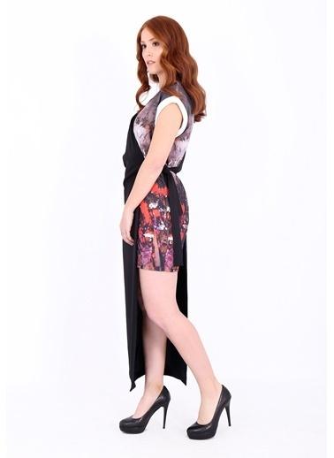 Asimetrik Kesimli Çiçek Desenli Elbise-Soie Design